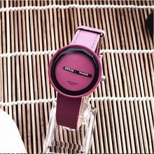 Eenvoudige stijl ronde Dial matte lederen band quartz horloge voor mannen/vrouwen (paars)