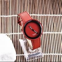 Eenvoudige stijl ronde Dial matte lederen band quartz horloge voor mannen/vrouwen (rood)