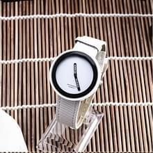 Eenvoudige stijl ronde Dial matte lederen band quartz horloge voor mannen/vrouwen (wit)