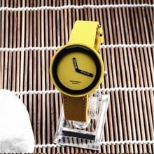 Eenvoudige stijl ronde Dial matte lederen band quartz horloge voor mannen/vrouwen (geel)