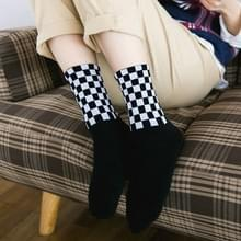 Harajuku dambord hiphop sokken lange katoenen sok  maat: One size (zwart)