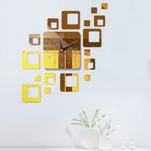 Home spiegel oppervlak sticker thuiskantoor decoratieve spiegels 3D stereo klok acryl spiegel klok blok combinatie klok (spiegel diep goud)