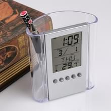 Transparante Bureau tabel klok pen container alarm kleine geschenken huis decoratie Bureau tabel digitale klok