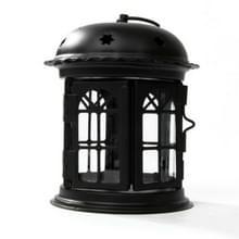 Antieke ijzeren ster huis kandelaar romantisch bruiloft kaars houder lantaarn retro Home Decoratie Schans (zwart)
