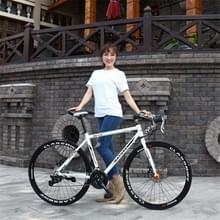 27 inch MZ-C30 aluminiumlegering wedfiets met dubbelschijf rem 700C Variable Speed Student Bicycle 27 Speed (Wit Zwart)