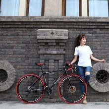 27 inch MZ-C30 aluminiumlegering racefiets met dubbelschijf rem 700C Variable Speed Student Bicycle 33 Speed (Zwart Rood)