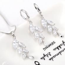 Vrouw eenvoudige trendy Zircon tarwe ketting oorbellen bruids juwelen set (platina)