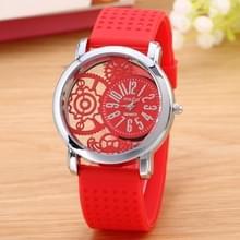 Holle versnelling Dial silicone riem quartz horloge (rood)