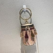 Stro vrouwen tas ronde tote tas metalen ring kwast keten schouder reistas (kaki)