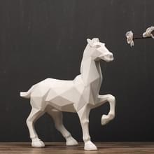 Moderne abstracte witte paard standbeeld hars ornamenten huis decoratie
