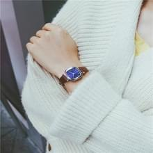 Kleine retro vierkante Dial lederen riemen horloge voor vrouwen (koffie band blauwe wijzerplaat)
