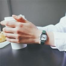 Kleine retro vierkante Dial lederen riemen horloge voor vrouwen (groene band witte wijzerplaat)