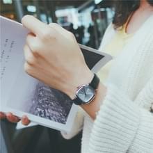 Kleine retro vierkante Dial lederen riemen horloge voor vrouwen (zwarte band witte wijzerplaat)