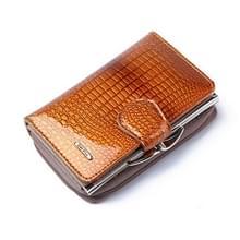 Mode echt lakleer vrouwen korte kleine portemonnee munt Pocket Credit Card portemonnee (goud)