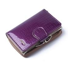 Mode echt lakleer vrouwen korte kleine portemonnee munt Pocket Credit Card portemonnee (paars)