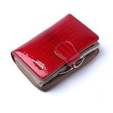 Mode echt lakleer vrouwen korte kleine portemonnee munt Pocket Credit Card portemonnee (rood)