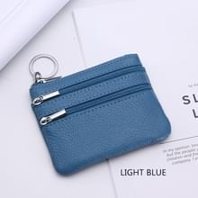 Echte lederen vrouwen kleine portemonnee verandering portemonnees rits kaarthouder portefeuilles (licht blauw)