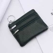 Echte lederen vrouwen kleine portemonnee verandering portemonnees rits kaarthouder portefeuilles (Deep Green)