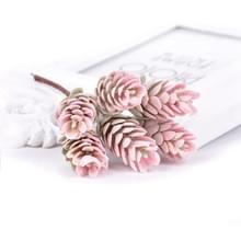 2 trossen kunst bloemen plant Pine Cone boeket voor bruiloft kerst decoratie (rood)