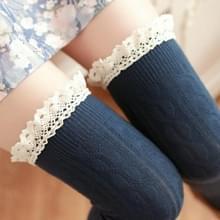 Lace hoge knielange buis vrouwen sokken  grootte: One size (blauw)