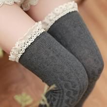 Lace hoge knielange buis vrouwen sokken  grootte: One size (grijs)