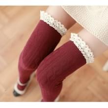 Lace hoge knielange buis vrouwen sokken  grootte: One size (rood)