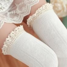 Lace hoge knielange buis vrouwen sokken  grootte: One size (wit)
