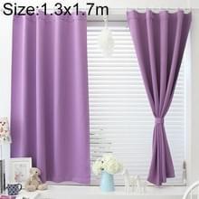 Moderne eenvoudige effen kleur korte verduisterende gordijnen voor slaapkamer  grootte: 1.3 X 1 7 M  verwerking: grommets top (paars)