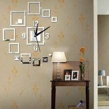 Wandklokken spiegel 3D stereo acryl Living Room slaapkamer decoratie muur klok mode DIY creatieve Wandklok (Sliver)