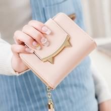 Cute cat lederen driebladige slanke mini portemonnee vrouwen kleine koppeling munt kaarthouder (roze)
