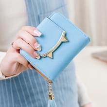 Cute cat lederen driebladige slanke mini portemonnee vrouwen kleine koppeling munt kaarthouder (hemelsblauw)