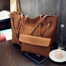 2 in 1 zachte lederen vrouwen tas set luxe Fashion Design schoudertassen grote casual tassen handtas (koffie)