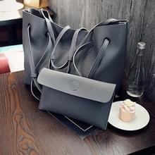 2 in 1 zachte lederen vrouwen tas set luxe Fashion Design schoudertassen grote casual tassen handtas (donkergrijs)