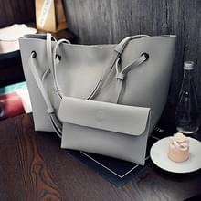 2 in 1 zachte lederen vrouwen tas set luxe Fashion Design schoudertassen grote casual tassen handtas (grijs)