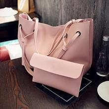 2 in 1 zachte lederen vrouwen tas set luxe Fashion Design schoudertassen grote casual tassen handtas (roze)