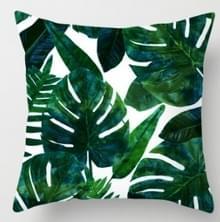 Tropische planten kussen zaak polyester decoratieve kussenslopen groene bladeren gooien kussen cover Square 45CM x45CM (12)
