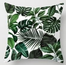 Tropische planten kussen zaak polyester decoratieve kussenslopen groene bladeren gooien kussen cover Square 45CM x45CM (13)