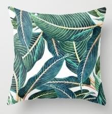 Tropische planten kussen zaak polyester decoratieve kussenslopen groene bladeren gooien kussen cover Square 45CM x45CM (17)