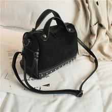 Vrouwen top-handvat zakken met klinknagels lederen schoudertas grote capaciteit Vintage Tote tassen (zwart)