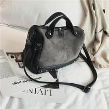 Vrouwen top-handvat zakken met klinknagels lederen schoudertas grote capaciteit Vintage Tote tassen (grijs)