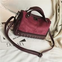 Vrouwen top-handvat zakken met klinknagels lederen schoudertas grote capaciteit Vintage Tote tassen (wijn rood)