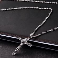 Mannen Vintage RVS Kruis Jezus hanger Necklace(Cross chain-Silver)