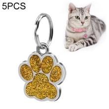 5 PC'S metalen huisdier tag zink legering identiteitskaart footprint belettering dog tag (goud)