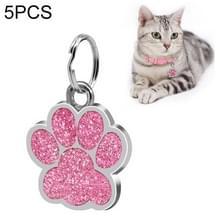 5 PC'S metalen huisdier tag zink legering identiteitskaart footprint belettering dog tag (roze)