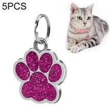 5 PC'S metalen huisdier tag zink legering identiteitskaart footprint belettering dog tag (paars)