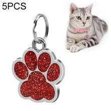 5 PC'S metalen huisdier tag zink legering identiteitskaart footprint belettering dog tag (rood)