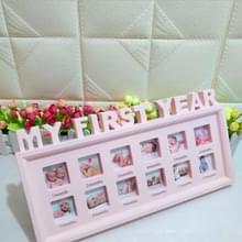 Creatieve DIY Home kamer decoratie baby Memorial groeiende foto frame display (roze)