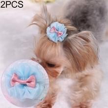 2 PCS Pet Haar Accessoires Hond Hoofdtooi Bow Hair Clip (Blauw)