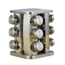 12 in 1 roestvrijstalen Canister set met draaibare houder (zilver)
