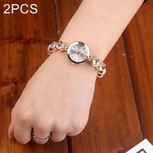 2 stks mooie vrouwen parel horloges (goud)